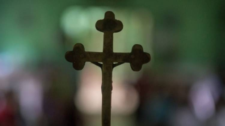 Crucifix at the altar of a church in Myanmar.