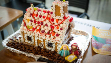 Christmas nativity gingerbread house