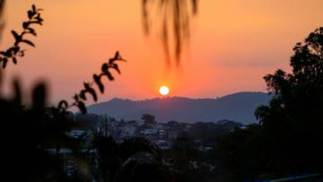Prayerful sunset over San Salvador