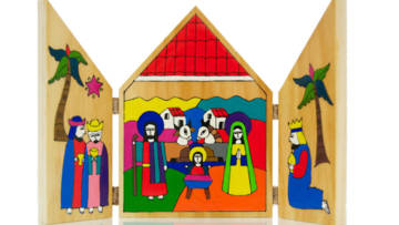 This beautiful, hand-crafted nativity triptych is available to buy in the CAFOD shop.