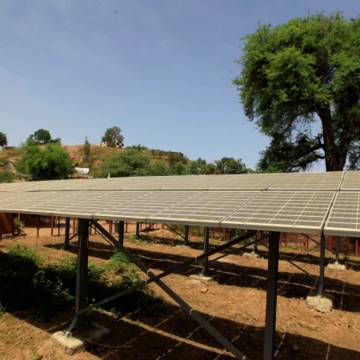 A water pumping station using solar power in Sudan