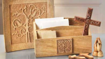 Traidcraft have a beautiful hand carved tree of life range. The Olive Wood Praying Hands & Handheld Crosses are expertly crafted in a workshop near Bethlehem.