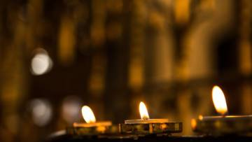 Candles in a cathedral