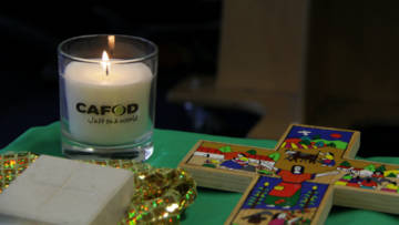 CAFOD candle and Romero cross, taken from Sacred Heart Catholic Primary, Roehampton.