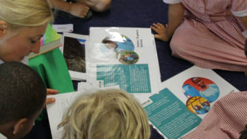 Children at Sacred Heart Primary School, Roehampton, use the CAFOD collective worship planner.