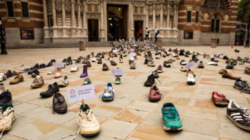 Shoes displayed outside Westminster Cathedral marked walks undertaken in support of the Global Compacts on Migration and Refugees