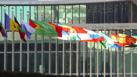 Flags outside the UN building in New York