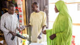 Zaniab in north east Nigeria, had to flee with her children when Boko Haram attacked her village. She receives food for her family via an e- voucher card scheme run by CAFOD's sister agency CRS and supported by EU Humanitarian Aid