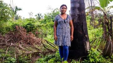 A woman standing next to a tree in the rainforest