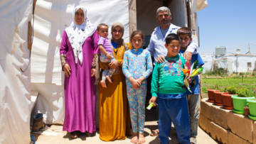 Mohamed and his family in an Informal Tent Settlements (ITS) in the Bekaa Valley, Lebanon