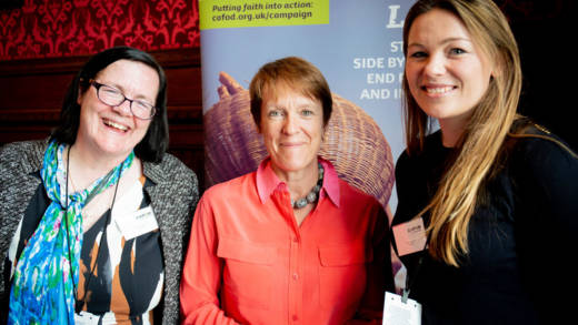 Sheila and Becky Higgins, a mother and daughter from Solihull, speaking to their MP Dame Caroline Spelman in Parliament