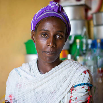 Rahel has been badly affected by the drought in Ethiopia, but CAFOD projects are helping her get food for her family.