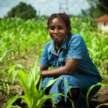 Yehwah has been helped by a CAFOD project in Sierra Leone that helps her grow more food for her family