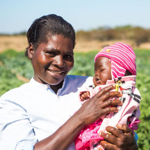 CAFOD helped Marian from Zambabwe to plant a vegetable garden to feed her family