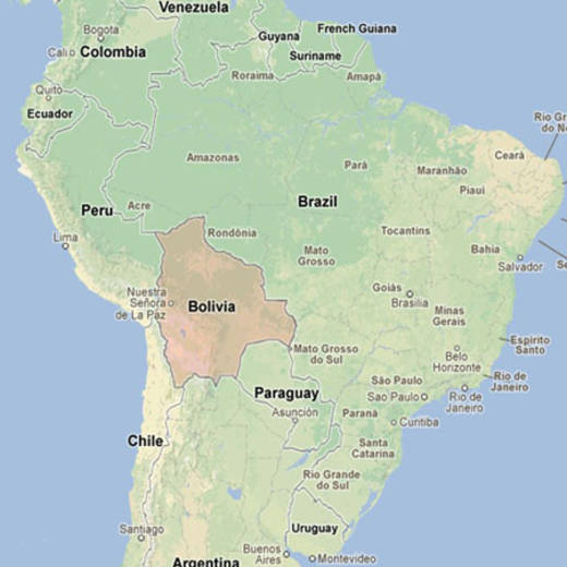 This map shows Bolivia - a landlocked country in South America