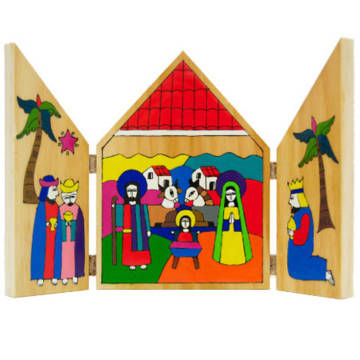 This beautiful hand-made Nativity triptych is available to buy in the CAFOD shop.