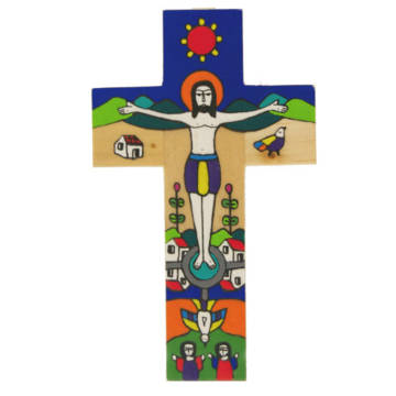 A colourful cross depicting Jesus surrounded by people and landscapes of El Salvador