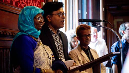 Shamsun Nahar from Bangladesh shared her experience as a former migrant worker at CAFOD MPc reception in Parliament