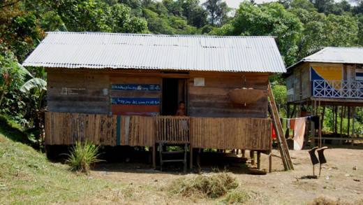A house on the riverbank in Chocó, one of the poorest regions in Colombia.