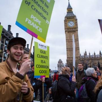 CAFOD supporter outside Parliament